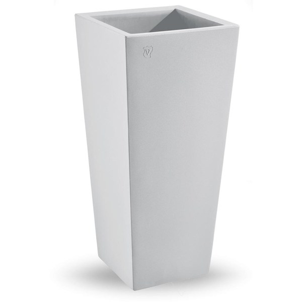 VECA - Bloempot Genesis, vierkant, H100 cm, wit - kunststofbloempot.nl