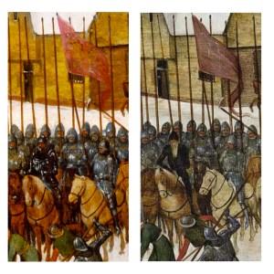 Vergelijking tussen de versie van Pieter Brueghel de oudere (links) en de versie van Pieter Brueghel (II) (rechts)
