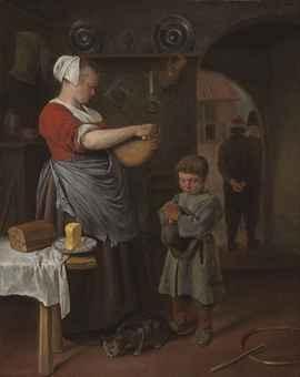 Jan Steen - Keuken interieur met jongen