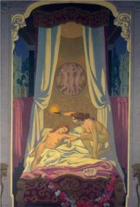 Psyche ontdekt dat Cupido haar liefde is - Maurice Denis