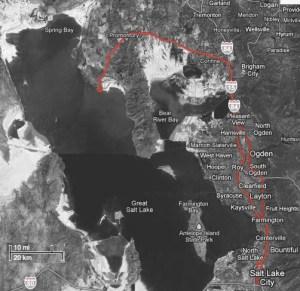 Route vanaf Salt Lake City