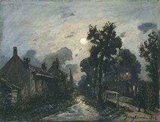 Johan Barthold Jongkind - Une rue à Delft le soir