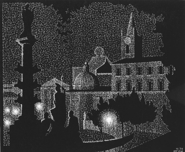 Nachtelijk Rome: Santa Maria del Popolo (1934), M.C. Escher © the M.C. Escher Company B.V. All rights reserved. www.mcescher.com