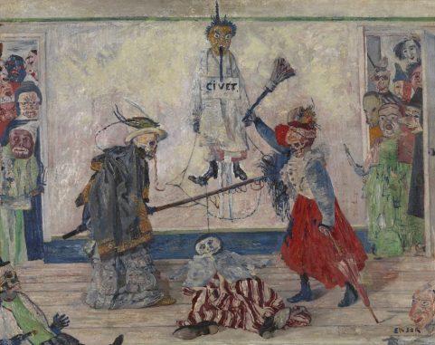 James Ensor - Geraamten twistend om een gehangene