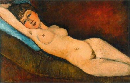Amedeo Modigliani - Liggend naakt op een blauw kussen