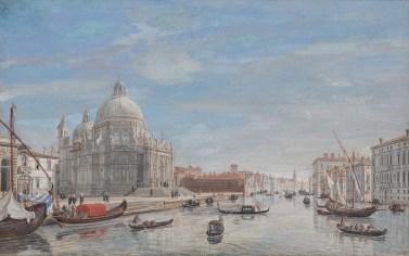 Caspar van Wittel - Santa Maria della Salute bij de ingang van Canal Grande, 1719-22, gouache, 31 x 49 cm, Holkham Hall, The Earl of Leicester and the trustees of Holkham Estate