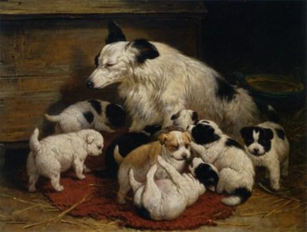 Henriëtte Ronner-Knip - Hond met haar Puppies