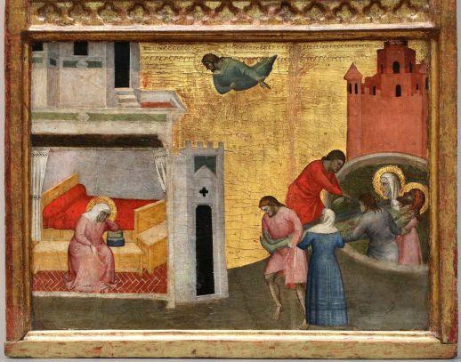 Giovanni del Biondo - St Sebastiaan wordt uit het riool gehaald