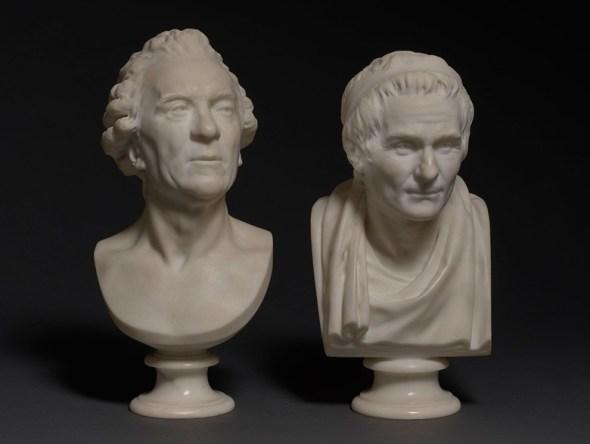 Jean Antoine Houdon - Bustes van Georges-Louis Leclerc en Jean-Jacques Rousseau
