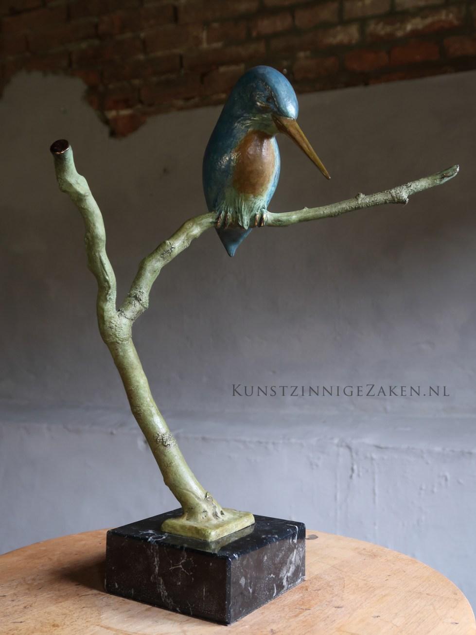 bronzen ijsvogel op tak