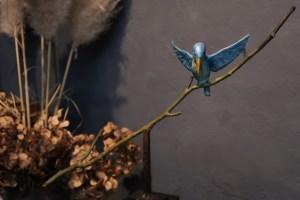 ijsvogel beeldje kopen brons
