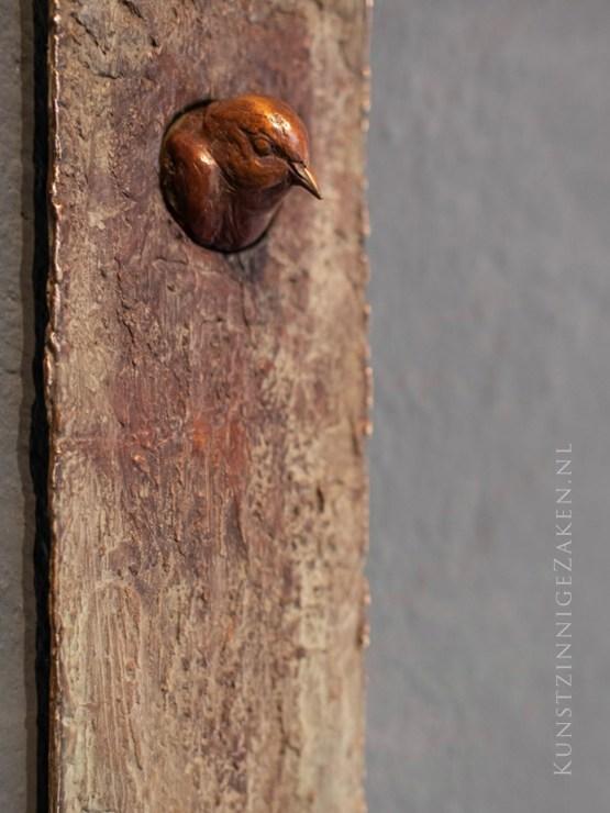 bronzen beeld wandobject interieur vogels