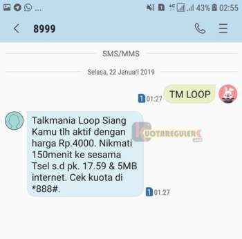 daftar tm simpati loop melalui sms