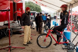 "Cody ""The Kid"" Kaiser (LangeTwins/Specialized) warming up at the stripped down Specialized trailer tent."