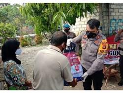 Polisi Sebar Bantuan Ratusan Sembako Ke Sejumlah Penjuru Gunungkidul Selama PPKM Darurat