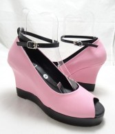 (AM-13) Sepatu Wedges Pink Hitam