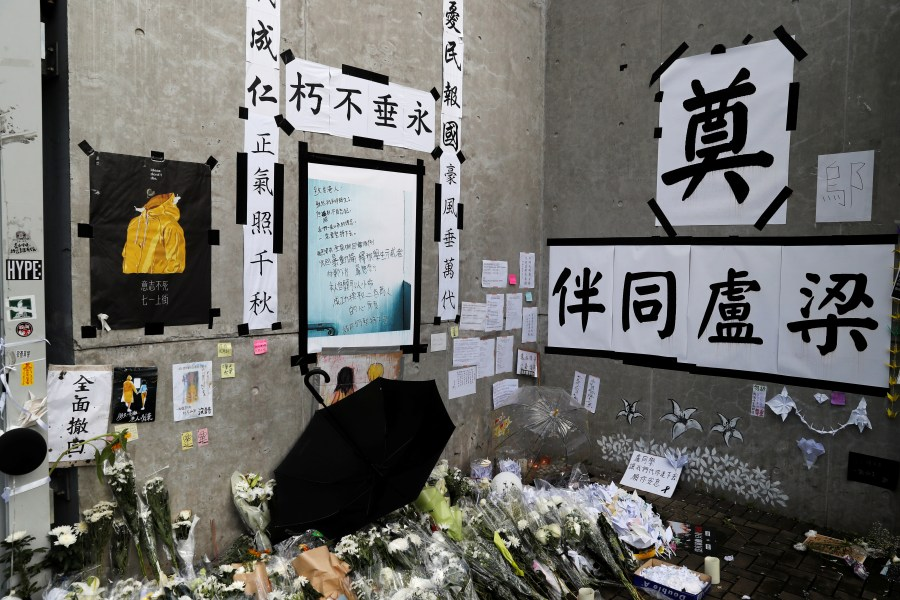 A memorial for a protester who fell to his death is seen at the Legislative Council, a day after protesters broke into the building in Hong Kong, July 2, 2019.