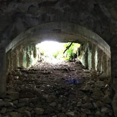 宮古島市平良西原に残る「ピンフ嶺野戦重火器砲壕」