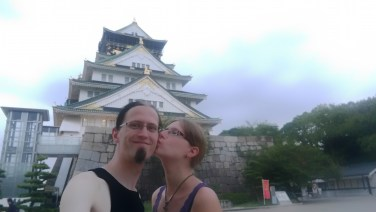 Us in front of Osaka castle