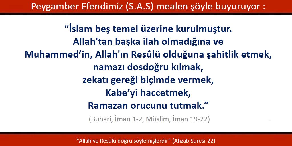 İslam beş temel üzerine kurulmuştur