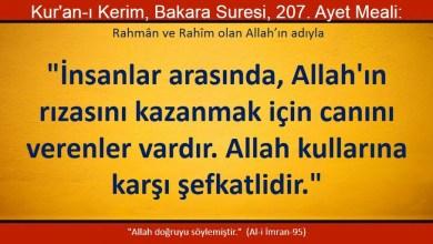 Photo of İnsanlar arasında, Allah'ın rızasını kazanmak için canını verenler vardır, Allah kullarına karşı şefkatlidir