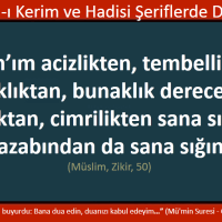 Allah'ım acizlikten, tembellikten, korkaklıktan, bunaklık derecesinde ihtiyarlıktan, cimrilikten ve kabir azabından sana sığınırım