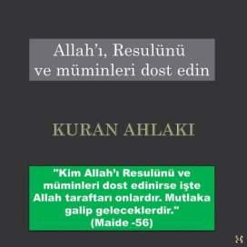 Allah'ı, Resulünü ve müminleri dost edin