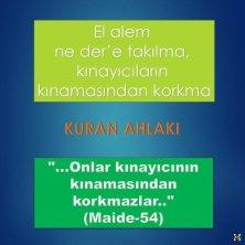 El alem ne der'e takılma, kınayıcıların kınamasından korkma