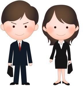 スーツを着た男性と女性
