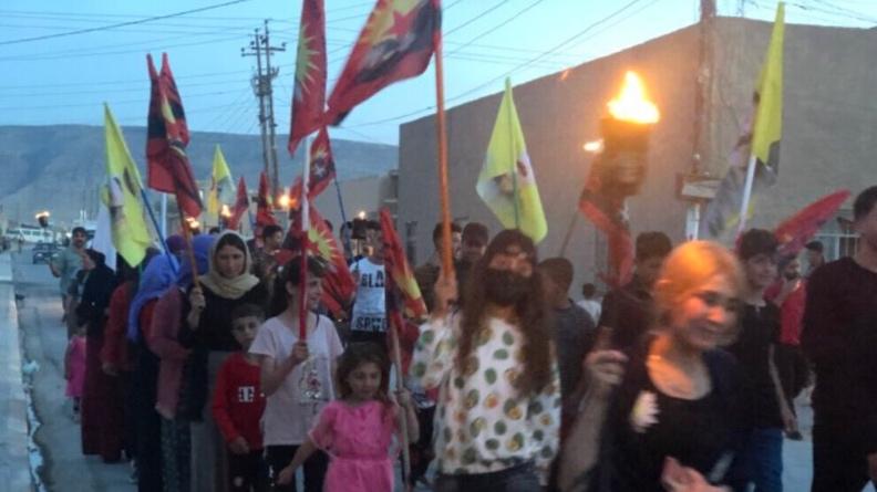 Οι Γεζίντι στο Σενγκάλ διαμαρτύρονται για την επίθεση της κατοχικής Τουρκίας