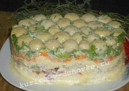 «Грибная Полянка» салат: рецепт с фото с шампиньонами