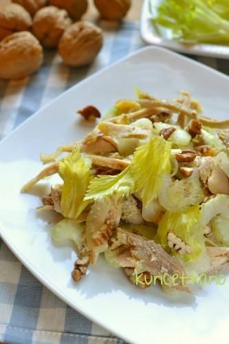 ricetta,ricette,insalata,avanzi,cappone,pollo,tacchino,faraona,gallo,sedano,noci,cavolo,feste,verdure