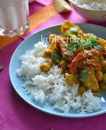 ricetta,ricette,curry,vegetariano,verdure,cavolfiore,zucchine,zenzero,curcuma,ceci,lenticchie
