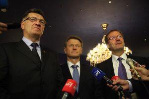 Algirdas Butkevičius, Rolandas Paksas oraz Wiktor Uspaskich — oświadczyli, że są gotowi formować nową koalicję rządzącą Fot. ELTA