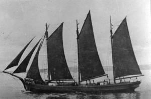 """Trzymasztowy szkuner z końca XIX wieku w Zatoce Meksykańskiej; tak mogła wyglądać """"Santa Ana"""""""