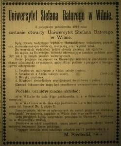 Ogłoszenie w prasie o naborze studentów na rok akademicki 1919/1920