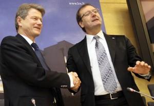 Liderzy PiS Rolandas Paksas i PP Wiktor Uspaskich podjęli  decyzję o połączeniu się<br/>Fot. ELTA