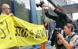 Protesty przeciwko budowie białoruskiej elektrowni atomowej na razie nie cieszą się dużym zainteresowaniem na Litwie<br>Fot. Marian Paluszkiewicz