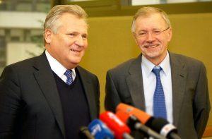 Prezydent Kwaśniewski przyznał, że jako były prezydent odpowiada tylko za słowa, natomiast za czyny odpowiadają obecni politycy, w tym też wiceprzewodniczący Kirkilas  Fot. Marian Paluszkiewicz