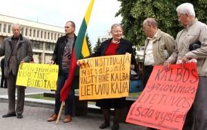 Przeciwko postulatom polskiej mniejszości na Litwie występują nieliczne grupy radykałów, aczkolwiek ich protesty znajdują posłuch nawet wśród większości parlamentarnej     Fot. Marian Paluszkiewicz