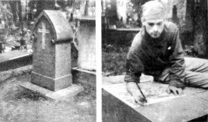 Tu obok swojej żony Ewy Podczaszyńskiej pochowany został Karol Podczaszyński; ostatnie pomiary, wkrótce Saulius Vingras przystąpi do wybijania tekstu na pomniku architekta