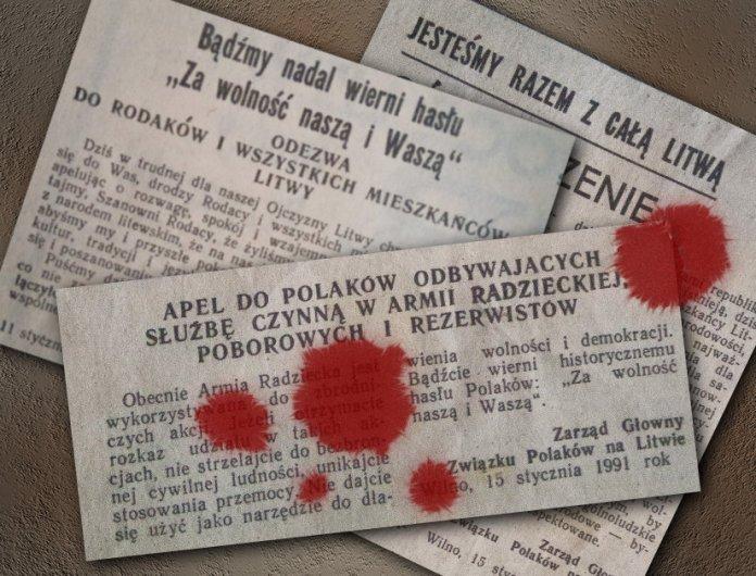 Wycinki z archiwum. Oświadczenia Związku Polaków na Litwie i Frakcji Polaków w Najwyższej Radzie Republiki Litewskiej w 1991, schlapane krwią.
