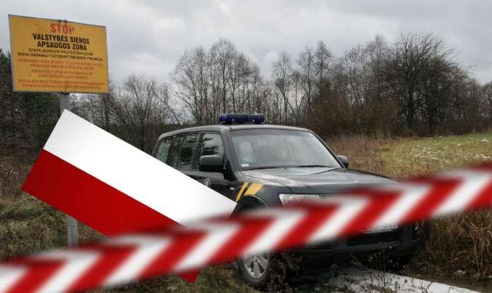 Zdjęcie ilustracyjne, samochód litewskich celników za szlabanem z polską flagą