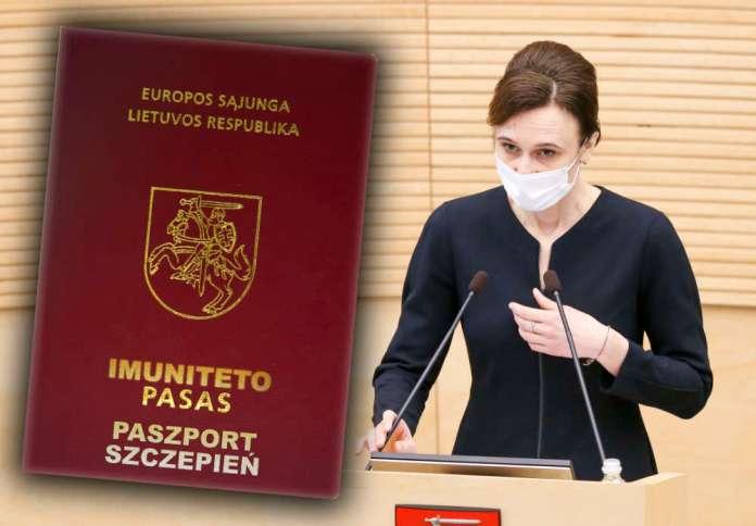 Przewodnicząca Sejmu Litwy i paszport odporności/szczepień