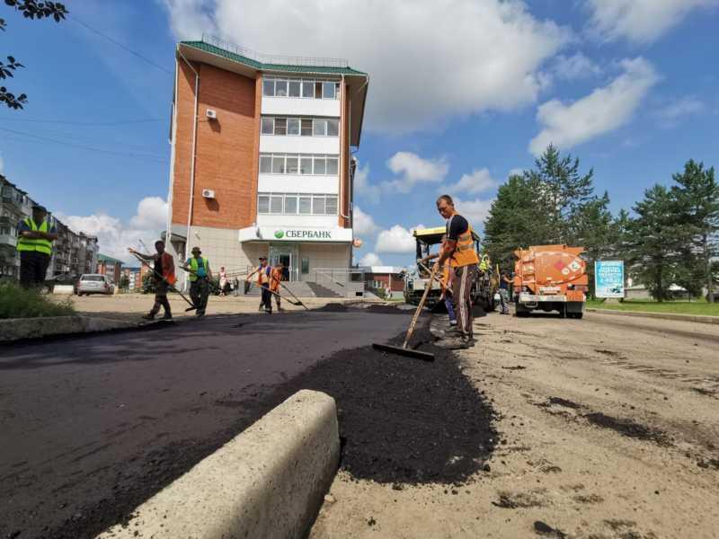 Тротуары на Пионерской начали асфальтировать в Биробиджане