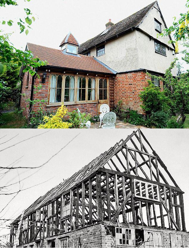 La casa de May en su ubicación actual y en la original (mientras se desmontaba)