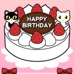 ハチワレ猫&白猫バースデーカード