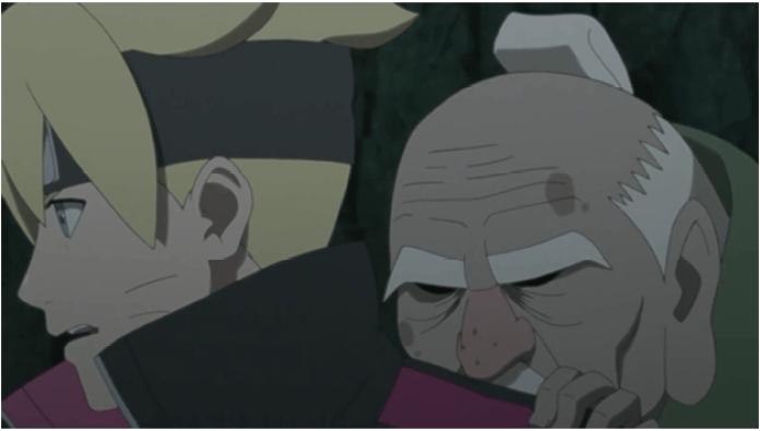 Boruto menolong sandaime tsuchikage oohnoki saat tertimpa reruntuhan pilar