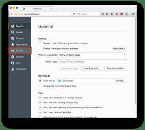Firefox Preferences Privacy
