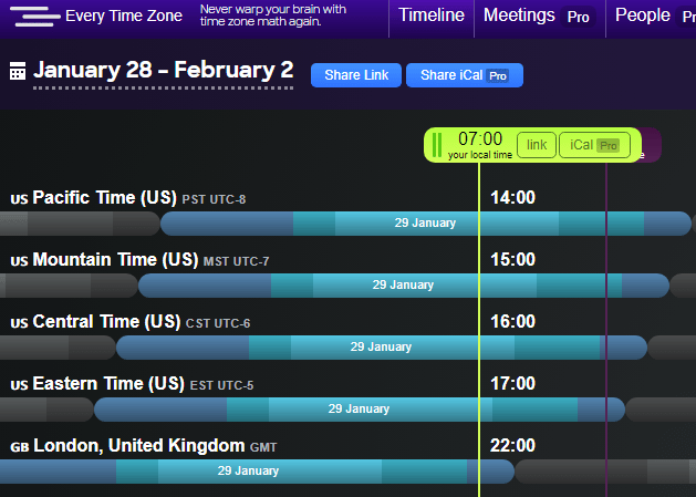 Every Time Zone's unique draggable interface